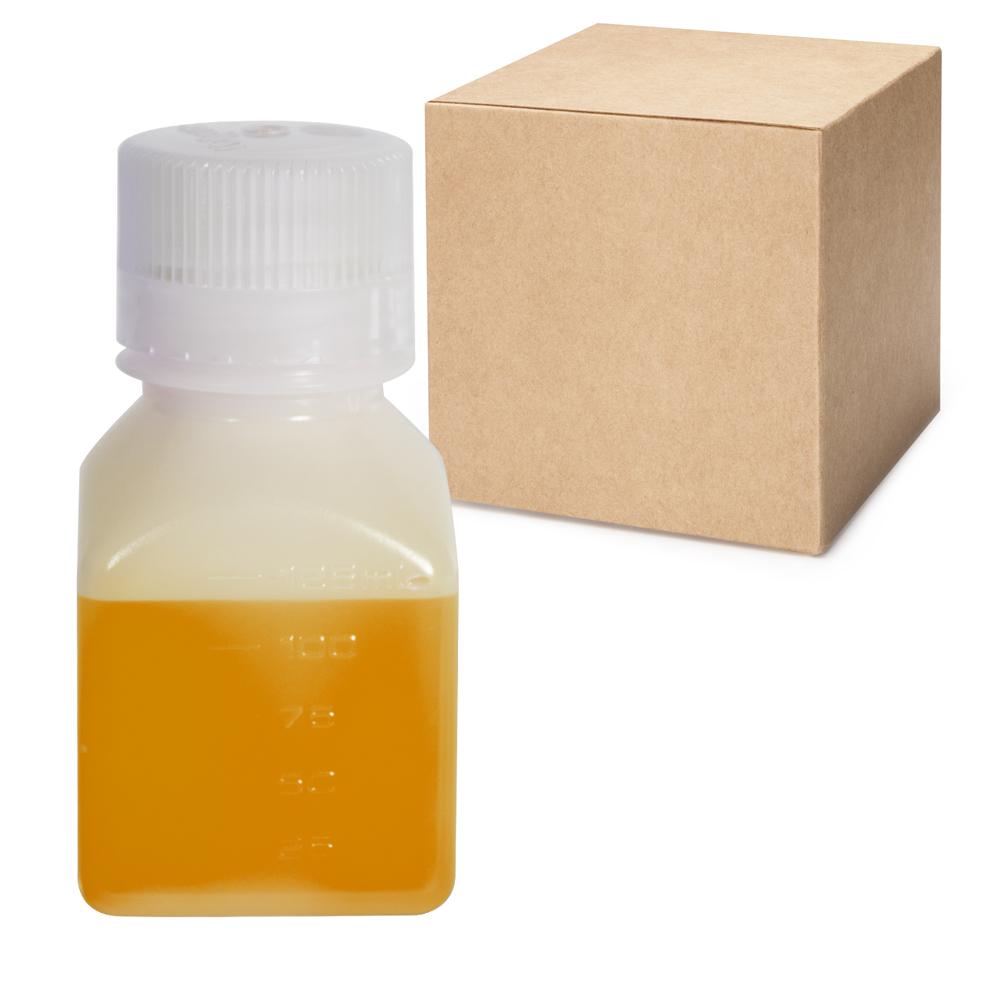 4 oz./125mL Nalgene™ Narrow Mouth Square HDPE Bottles with 38/430 Caps - Case of 72