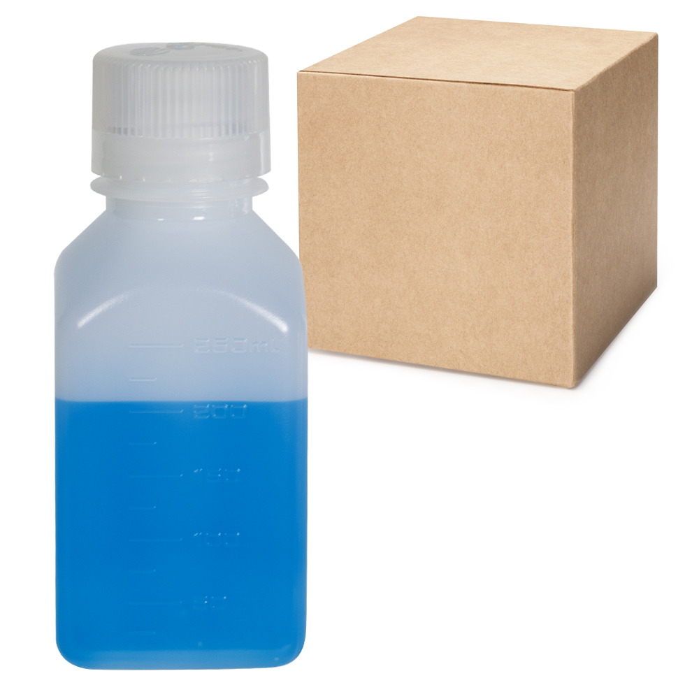 8 oz./250mL Nalgene™ Narrow Mouth Square HDPE Bottles with 38/430 Caps - Case of 72