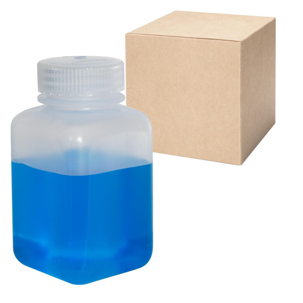 8 oz./250mL Nalgene™ Wide Mouth Polypropylene Square Bottles with 43mm Caps - Case of 72