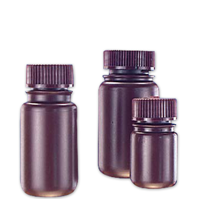 2 oz./60mL Nalgene™ Amber Wide Mouth Economy Bottles with 28mm Caps (Sold by Case)