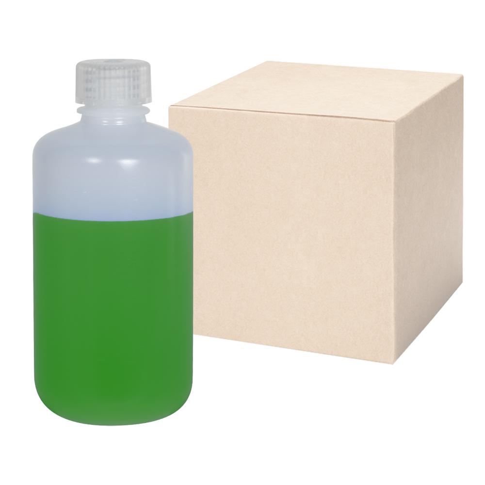 8 oz./250mL Nalgene™ Narrow Mouth IP2 HDPE Shipping Bottles with 24mm Caps - Case of 72