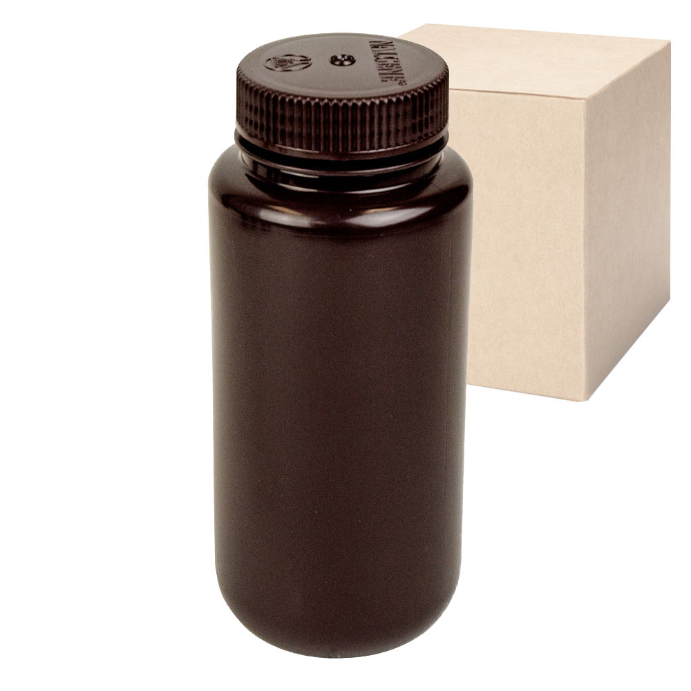 16 oz./500mL Nalgene™ Lab Quality Amber HDPE Wide Mouth Bottles with 53mm Caps - Case of 48