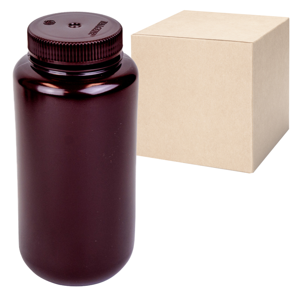 32 oz./1000mL Nalgene™ Lab Quality Amber HDPE Wide Mouth Bottles with 63mm Caps (Sold by Case)