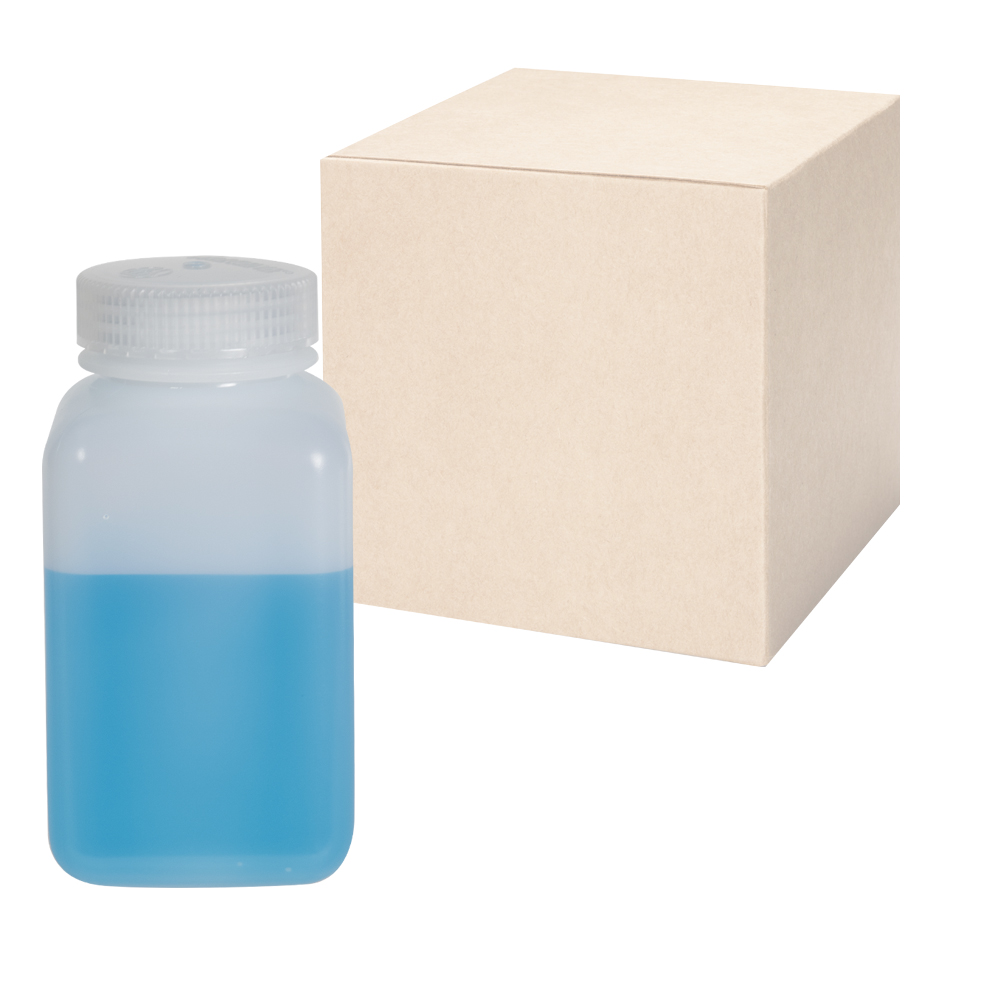 32 oz./1000mL Nalgene™ Wide Mouth Polyethylene Square Bottles with 63mm Caps - Case of 24
