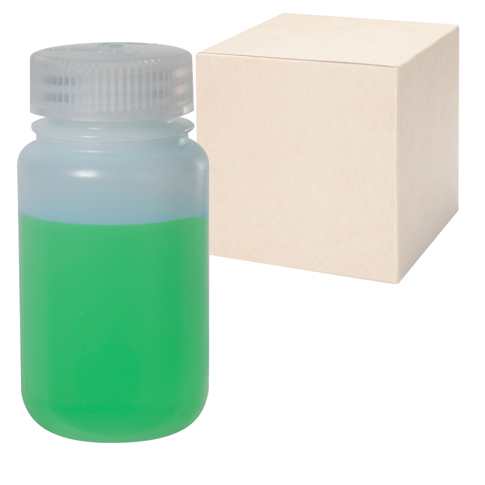 4 oz./125mL Nalgene™ Wide Mouth IP2 HDPE Shipping Bottles with 38mm Caps - Case of 72
