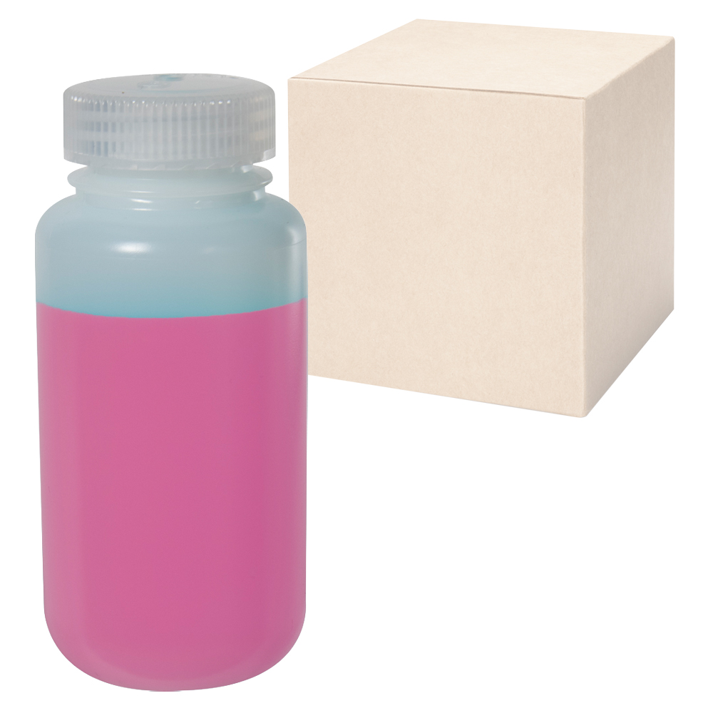 8 oz./250mL Nalgene™ Wide Mouth IP2 HDPE Shipping Bottles with 43mm Caps - Case of 72
