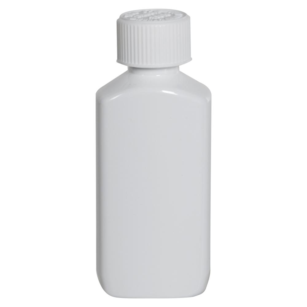 2 oz. White PET Drug Oblong Bottle with 20/410 CRC Cap