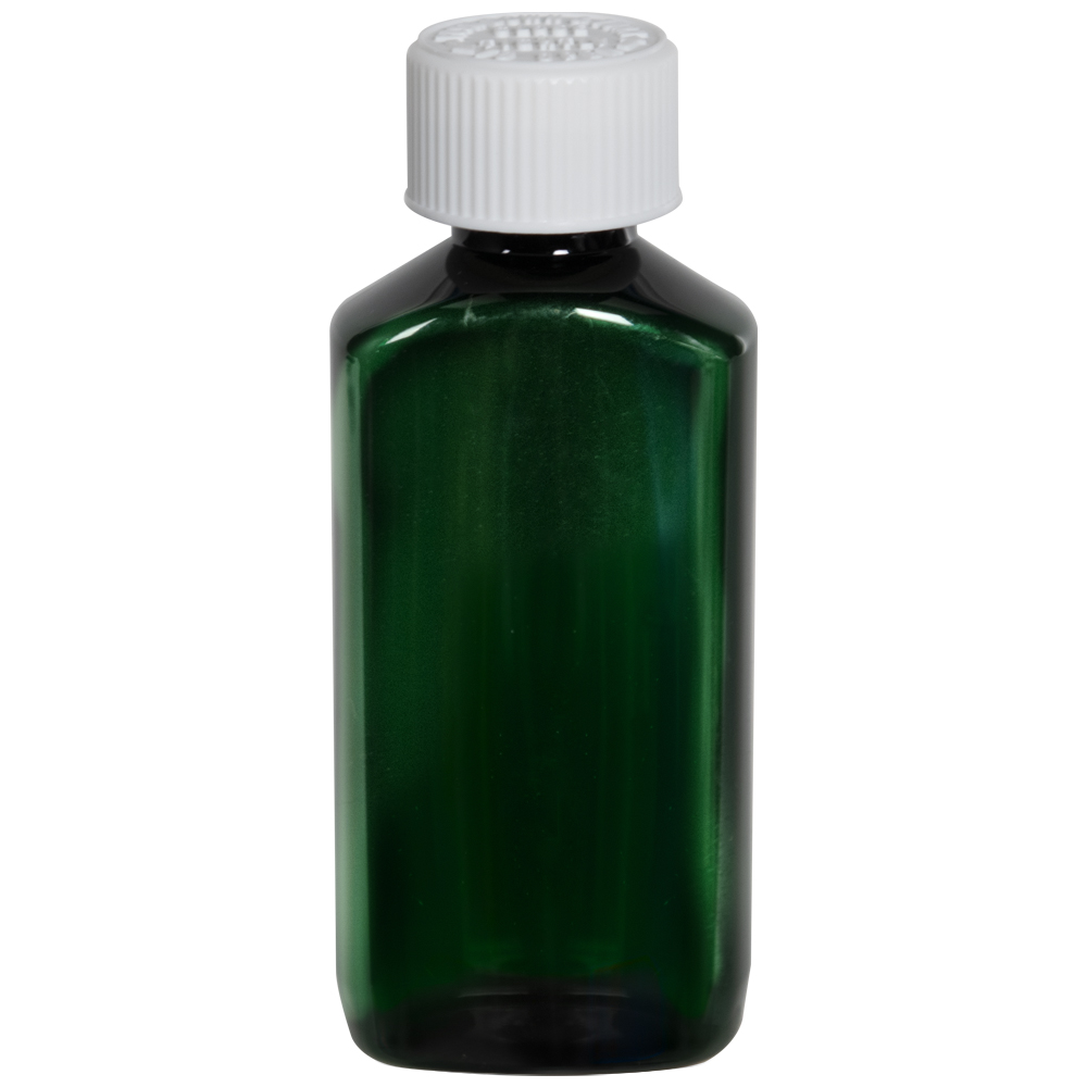2 oz. Dark Green PET Drug Oblong Bottle with 20/410 CRC Cap