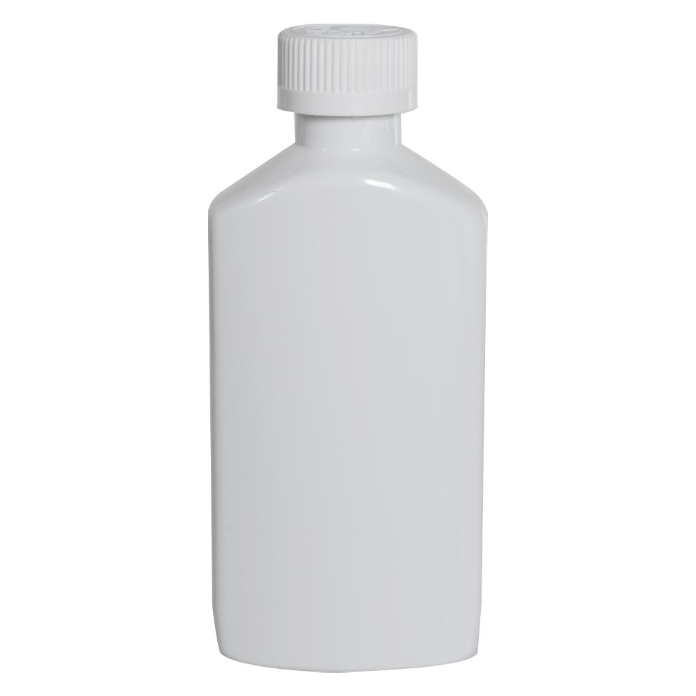 6 oz. White PET Drug Oblong Bottle with 24/410 CRC Cap