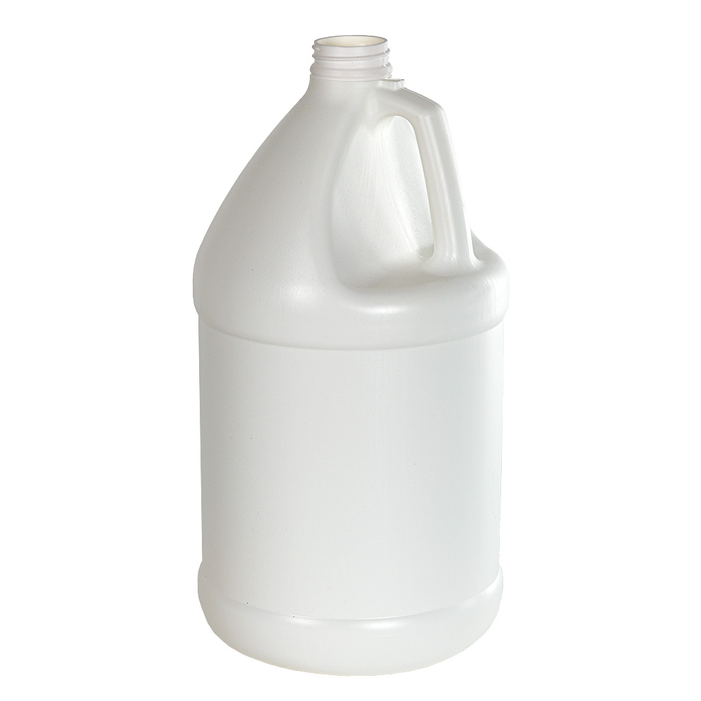 1 Gallon White HDPE Economy Industrial Round Jug with 38/400 Neck (Cap Sold Separately)