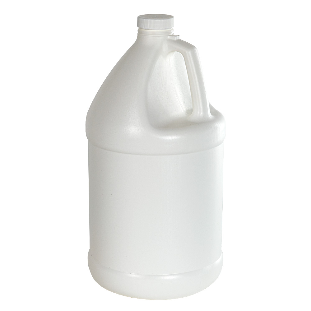 1 Gallon White Economy Industrial Round Jug with 38/400 Plain Cap