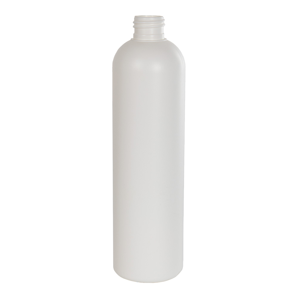 12 oz. HDPE White Cosmo Bottle with 24/410 Neck (Cap Sold Separately)