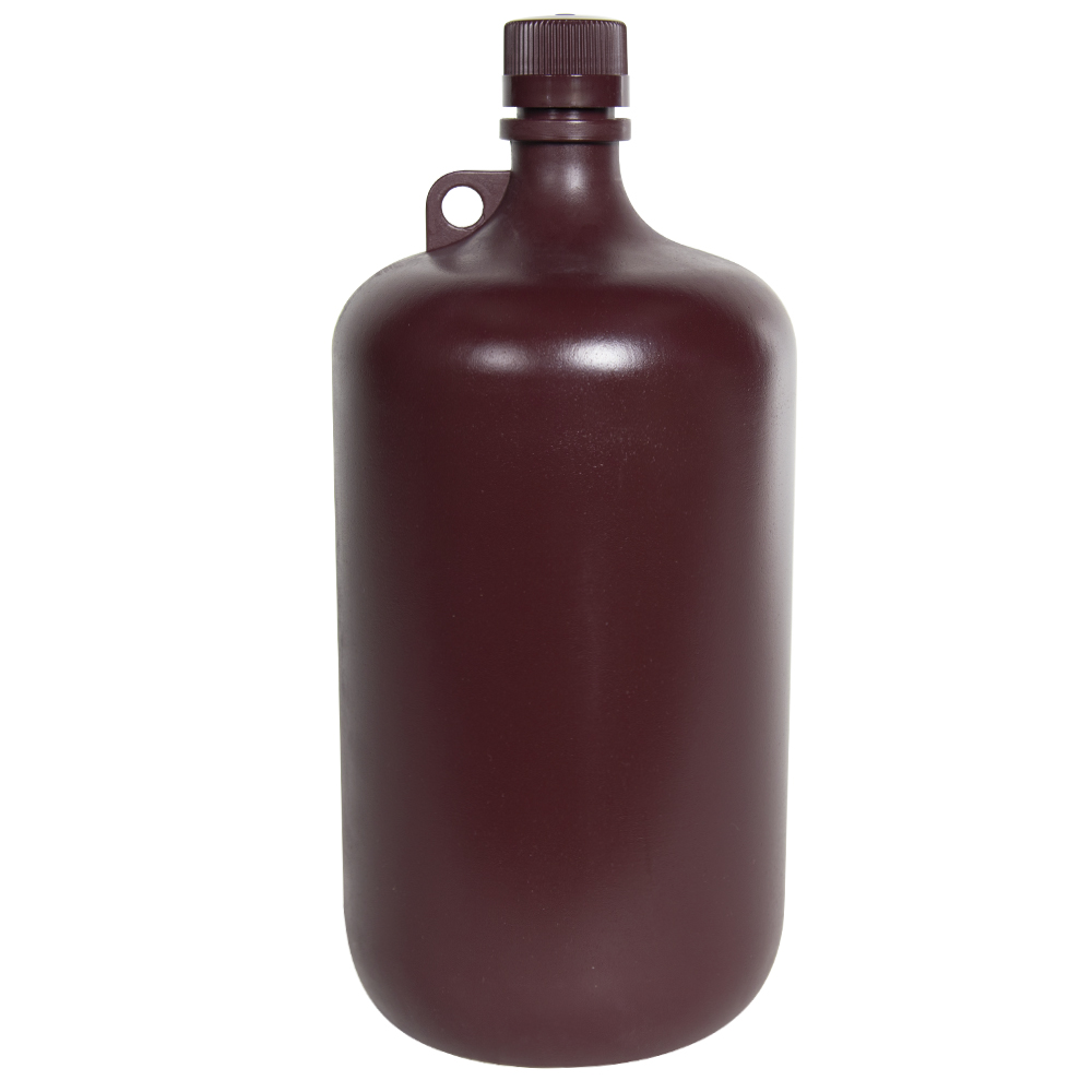 4 Liter Diamond® RealSeal™ Polypropylene Amber Large Format Round Bottle with 38/430 Cap