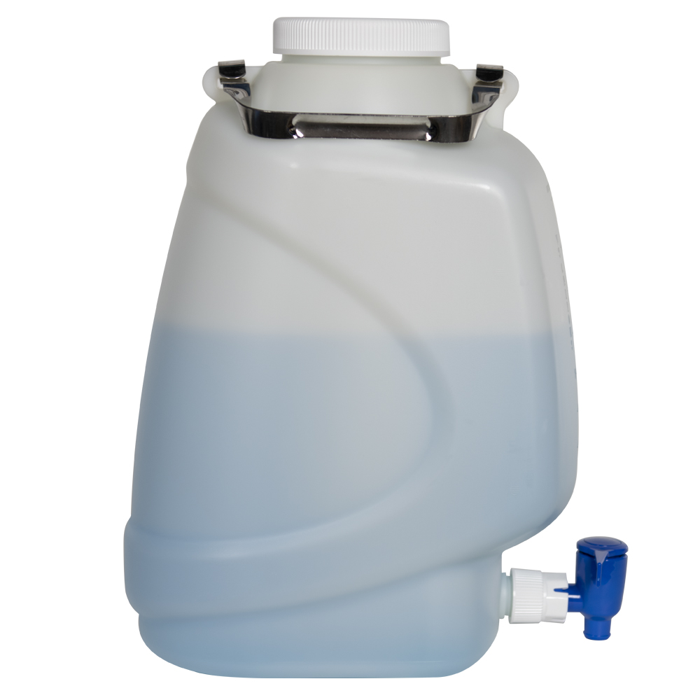 10 Liter Diamond® RealSeal™ Rectangular HDPE Carboy with Spigot