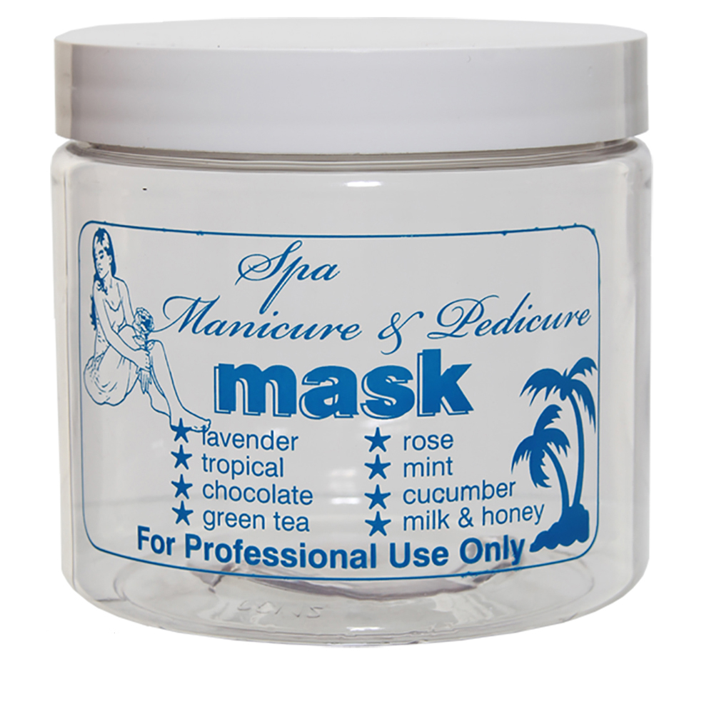 """16 oz. PET Clear Jar with Blue """"Mask"""" Embossed & 89/400 Cap with F217 Liner"""