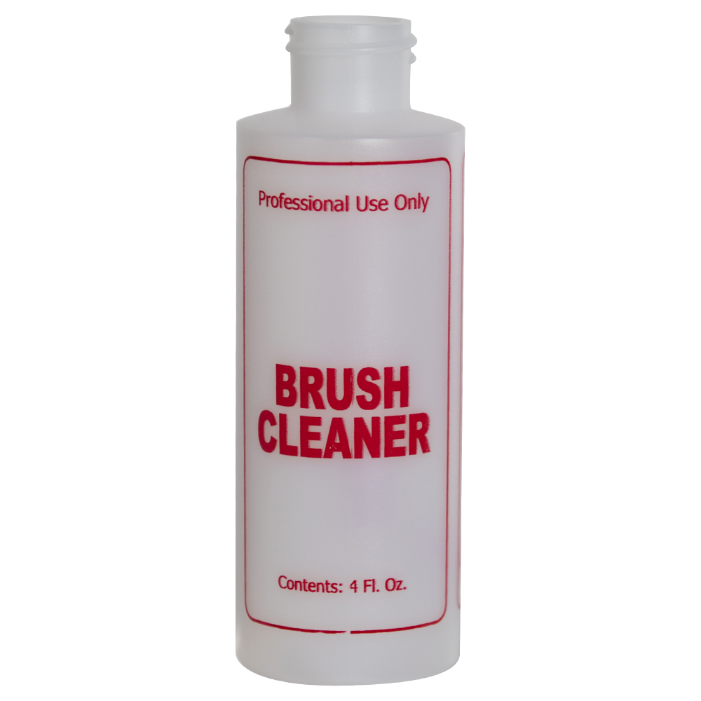 "4 oz. Natural HDPE Cylinder Bottle with 24/410 Neck & Red ""Brush Cleaner"" Embossed (Caps Sold Separately)"