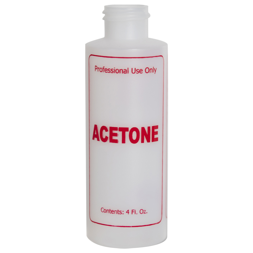 """4 oz. Natural HDPE Cylinder Bottle with 24/410 Neck & Red """"Acetone"""" Embossed (Caps Sold Separately)"""