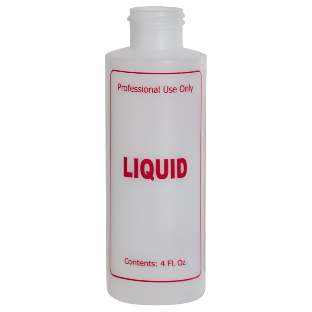 """4 oz. Natural HDPE Cylinder Bottle with 24/410 Neck & Red """"Liquid"""" Embossed (Caps Sold Separately)"""
