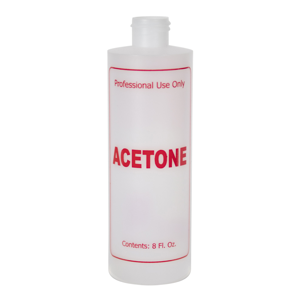 "8 oz. Natural HDPE Cylinder Bottle with 24/410 Neck & Red ""Acetone"" Embossed (Caps Sold Separately)"