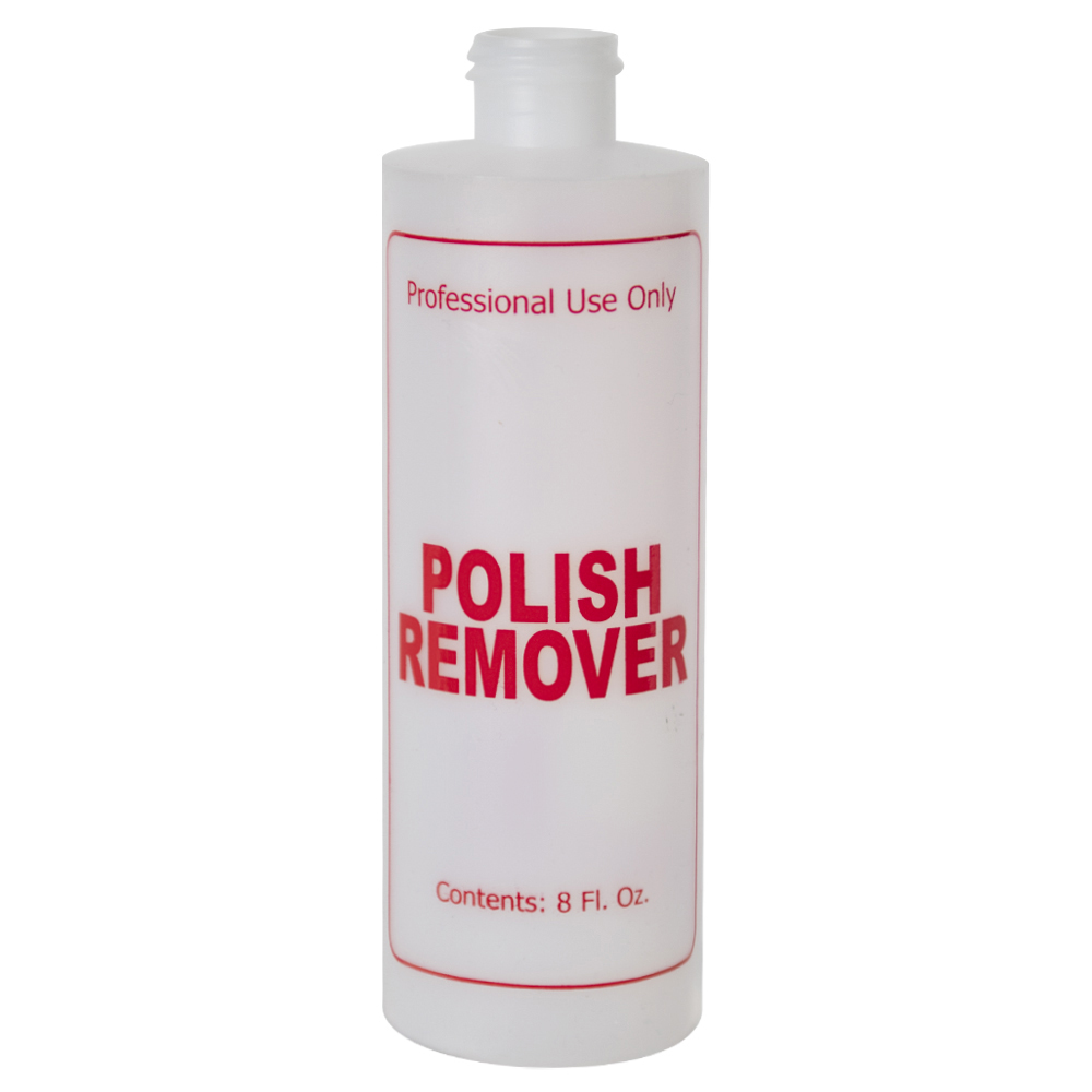 "8 oz. Natural HDPE Cylinder Bottle with 24/410 Neck & Red ""Polish Remover"" Embossed (Caps Sold Separately)"