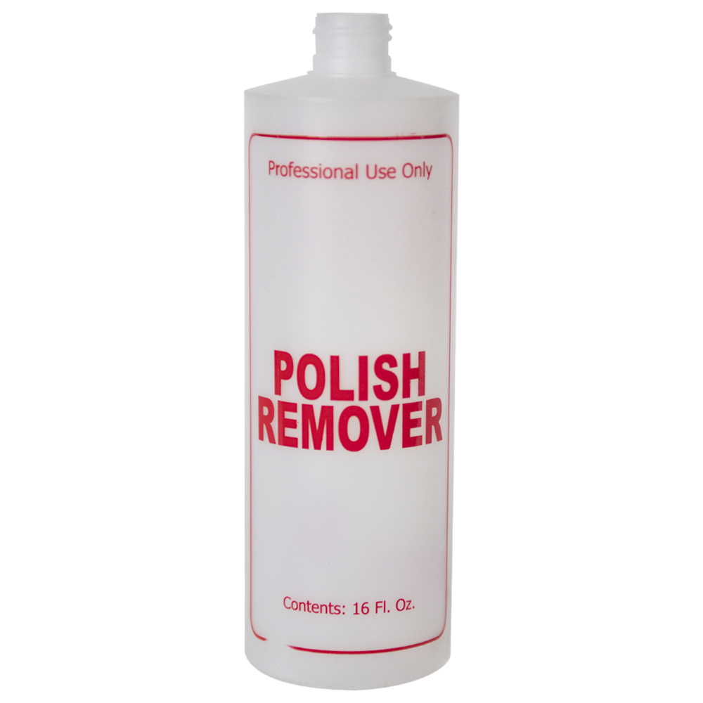 "16 oz. Natural HDPE Cylinder Bottle with 24/410 Neck & Red ""Polish Remover"" Embossed (Caps Sold Separately)"