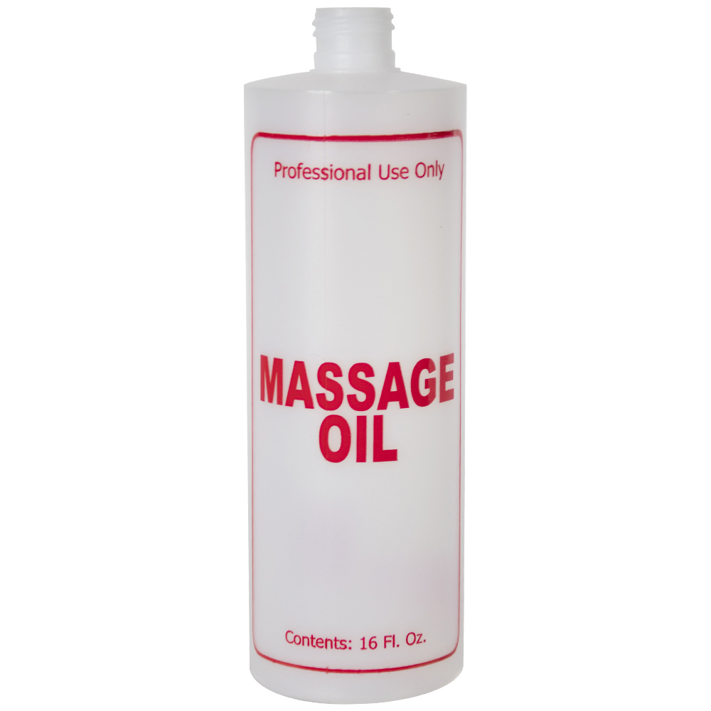 "16 oz. Natural HDPE Cylinder Bottle with 24/410 Neck & Red ""Massage Oil"" Embossed (Caps Sold Separately)"