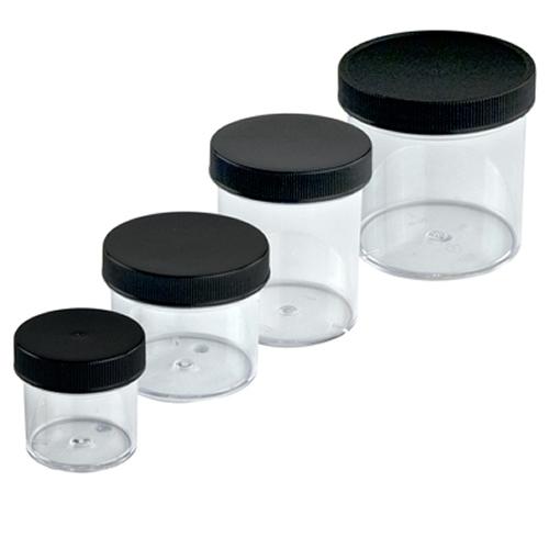 24 oz. Clear Polystyrene Straight Sided Jar with Black 120/400 Cap