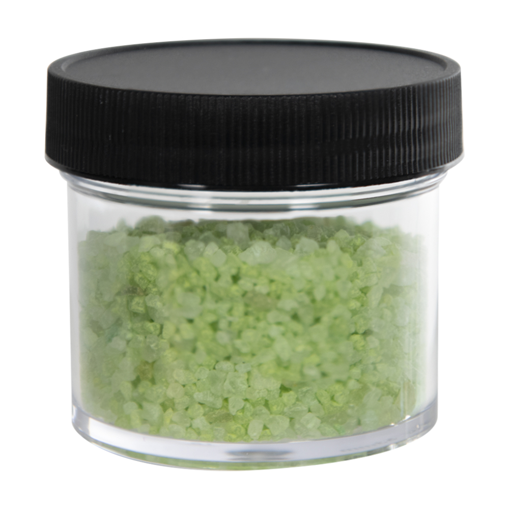 1-1/2 oz. Clear Polystyrene Straight Sided Jar with Black 38/400 Cap