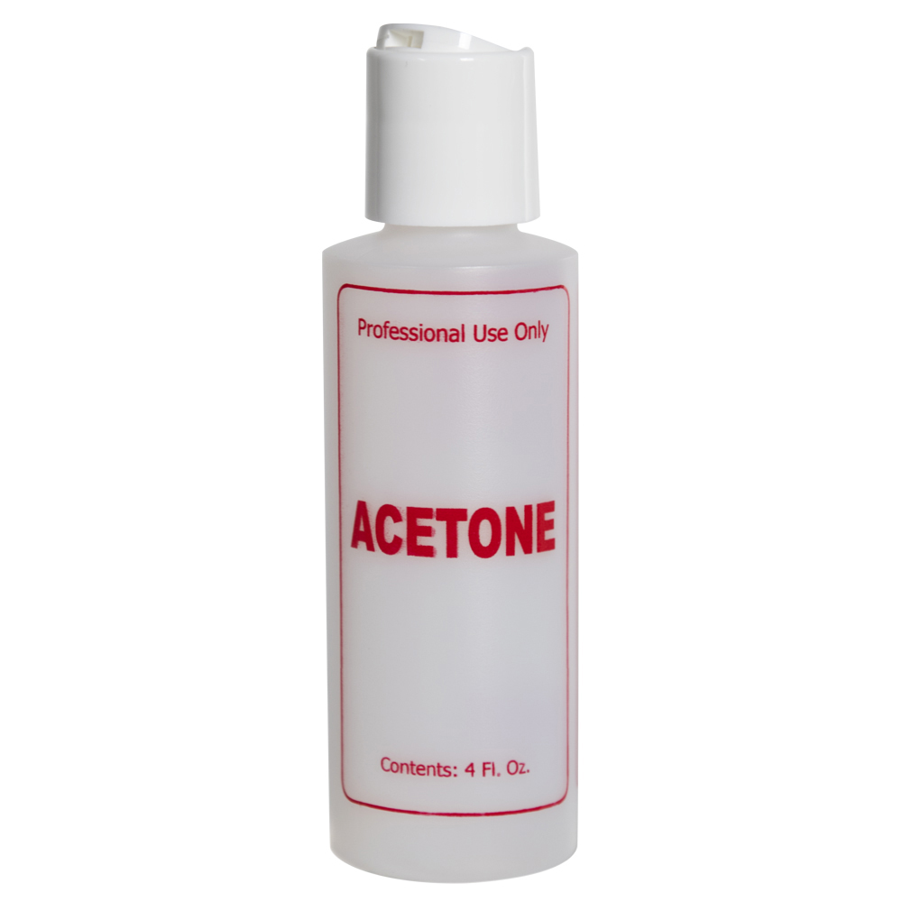 "4 oz. Natural HDPE Cylinder Bottle with 24/410 White Disc Top Cap & Red ""Acetone"" Embossed"