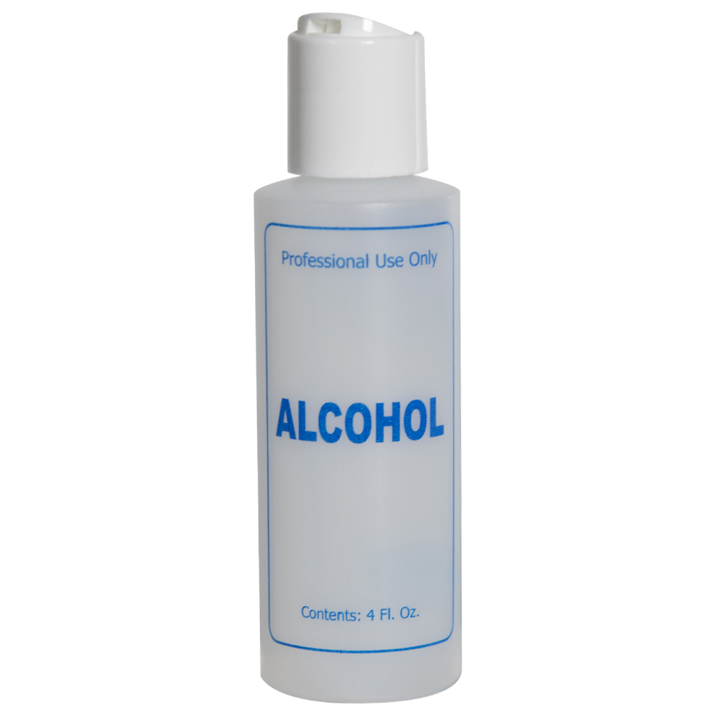 "4 oz. Natural HDPE Cylinder Bottle with 24/410 White Disc Top Cap & Blue ""Alcohol"" Embossed"