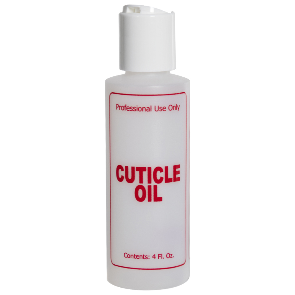 """4 oz. Natural HDPE Cylinder Bottle with 24/410 White Disc Top Cap & Red """"Cuticle Oil"""" Embossed"""