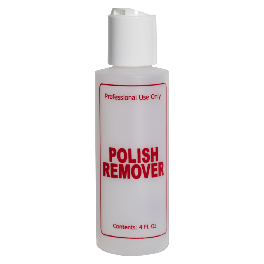 """4 oz. Natural HDPE Cylinder Bottle with 24/410 White Disc Top Cap & Red """"Polish Remover"""" Embossed"""