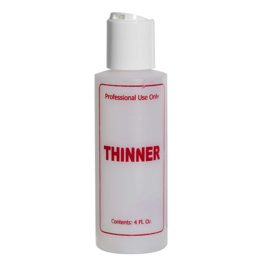 "4 oz. Natural HDPE Cylinder Bottle with 24/410 White Disc Top Cap & Red ""Thinner"" Embossed"