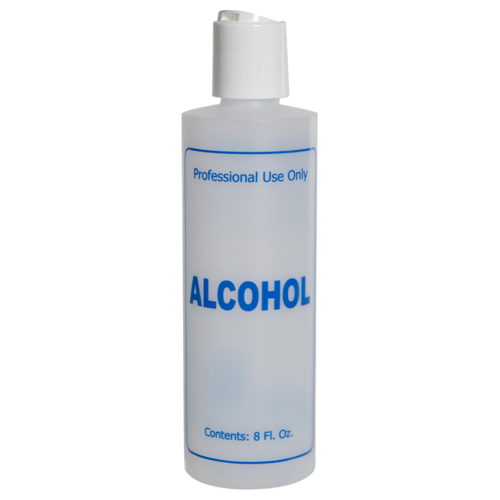 "8 oz. Natural HDPE Cylinder Bottle with 24/410 White Disc Top Cap & Blue ""Alcohol"" Embossed"
