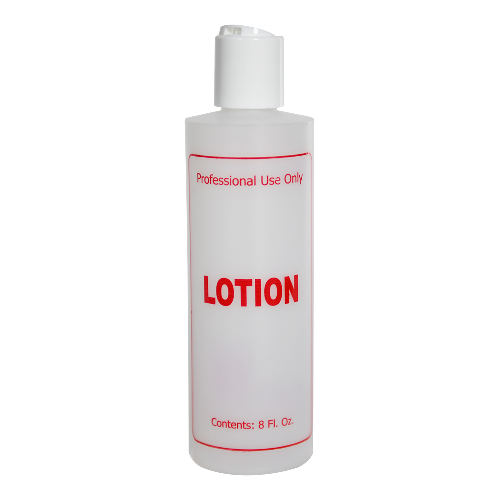 "8 oz. Natural HDPE Cylinder Bottle with 24/410 White Disc Top Cap & Red ""Lotion"" Embossed"