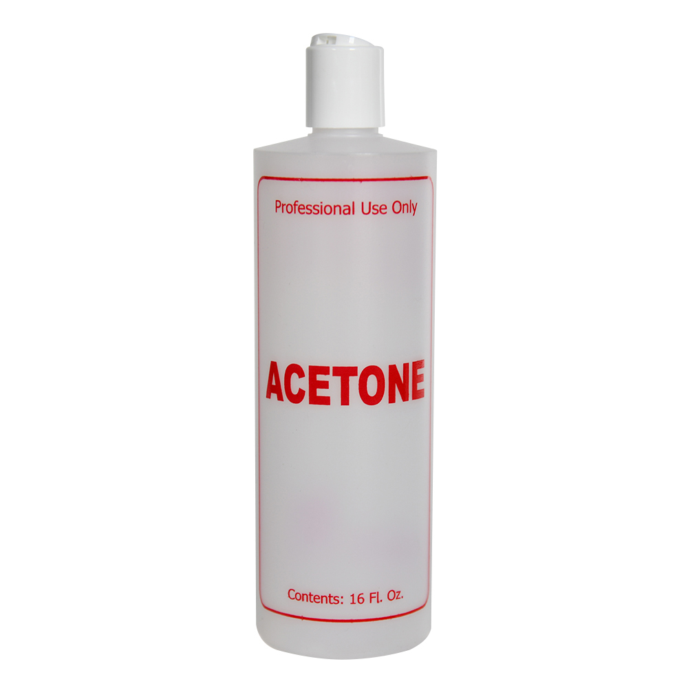 """16 oz. Natural HDPE Cylinder Bottle with 24/410 White Disc Top Cap & Red """"Acetone"""" Embossed"""