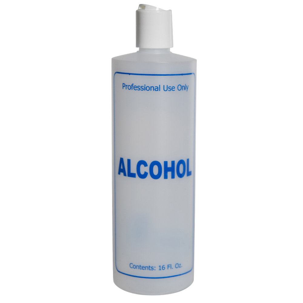 "16 oz. Natural HDPE Cylinder Bottle with 24/410 White Disc Top Cap & Blue ""Alcohol"" Embossed"