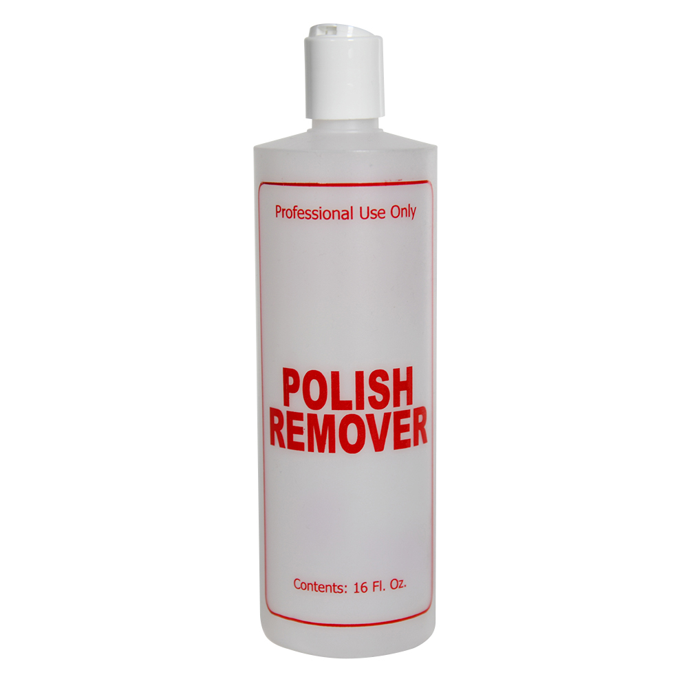 """16 oz. Natural HDPE Cylinder Bottle with 24/410 White Disc Top Cap & Red """"Polish Remover"""" Embossed"""