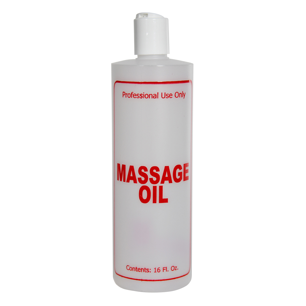 """16 oz. Natural HDPE Cylinder Bottle with 24/410 White Disc Top Cap & Red """"Massage Oil"""" Embossed"""