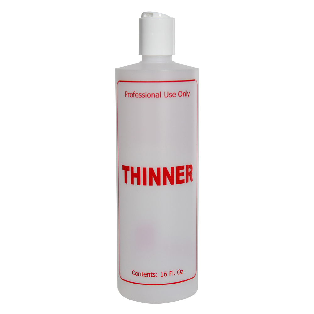 "16 oz. Natural HDPE Cylinder Bottle with 24/410 White Disc Top Cap & Red ""Thinner"" Embossed"