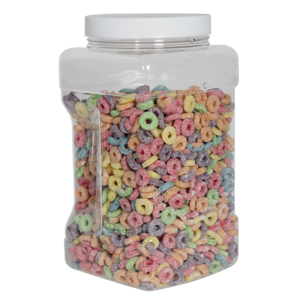 128 oz. Clear PET Square Pinch Grip-It Jar with 120/400 Cap