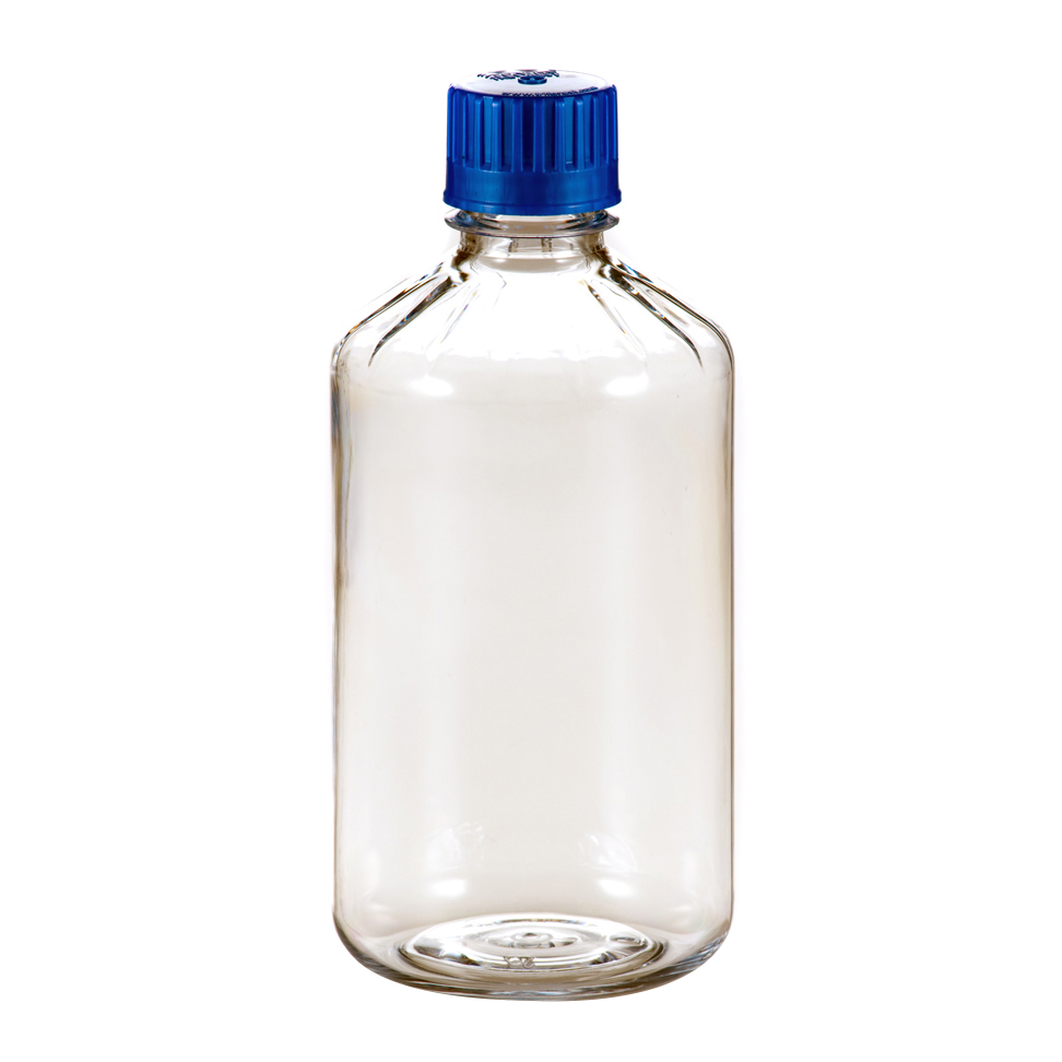 1000mL Polycarbonate Graduated Boston Round Bottles with 38/430 Caps - Case of 48