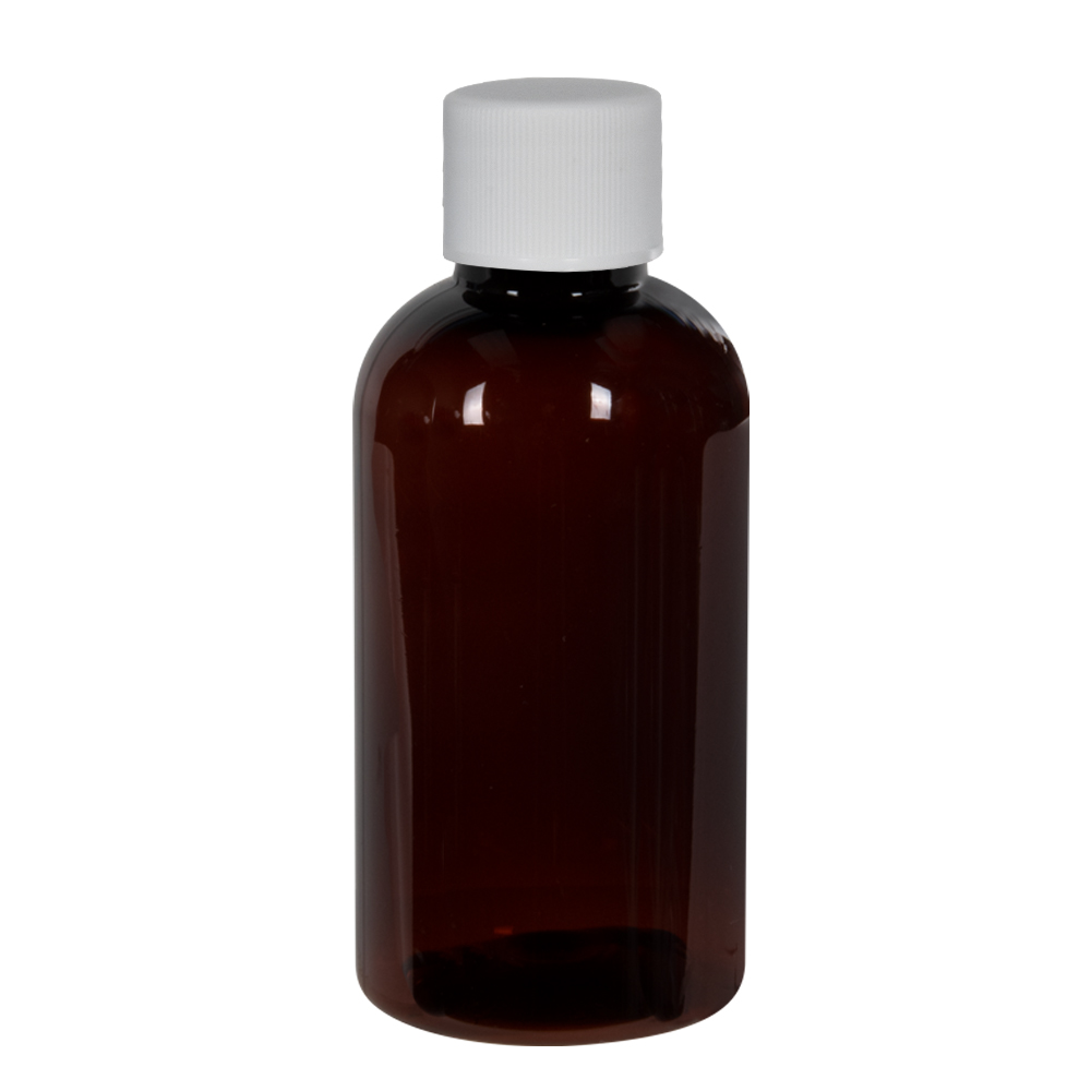 2 oz. Light Amber PET Traditional Boston Round Bottle with 20/400 Plain Cap with F217 Liner