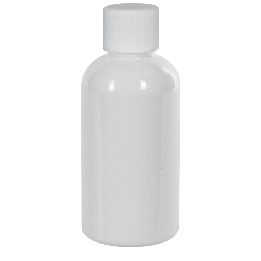2 oz. White PET Traditional Boston Round Bottle with 20/400 Plain Cap with F217 Liner