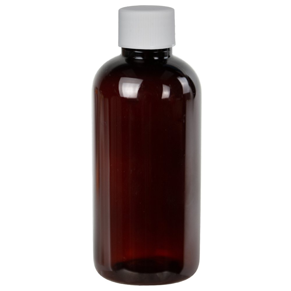 4 oz. Light Amber PET Traditional Boston Round Bottle with 24/410 Plain Cap with F217 Liner
