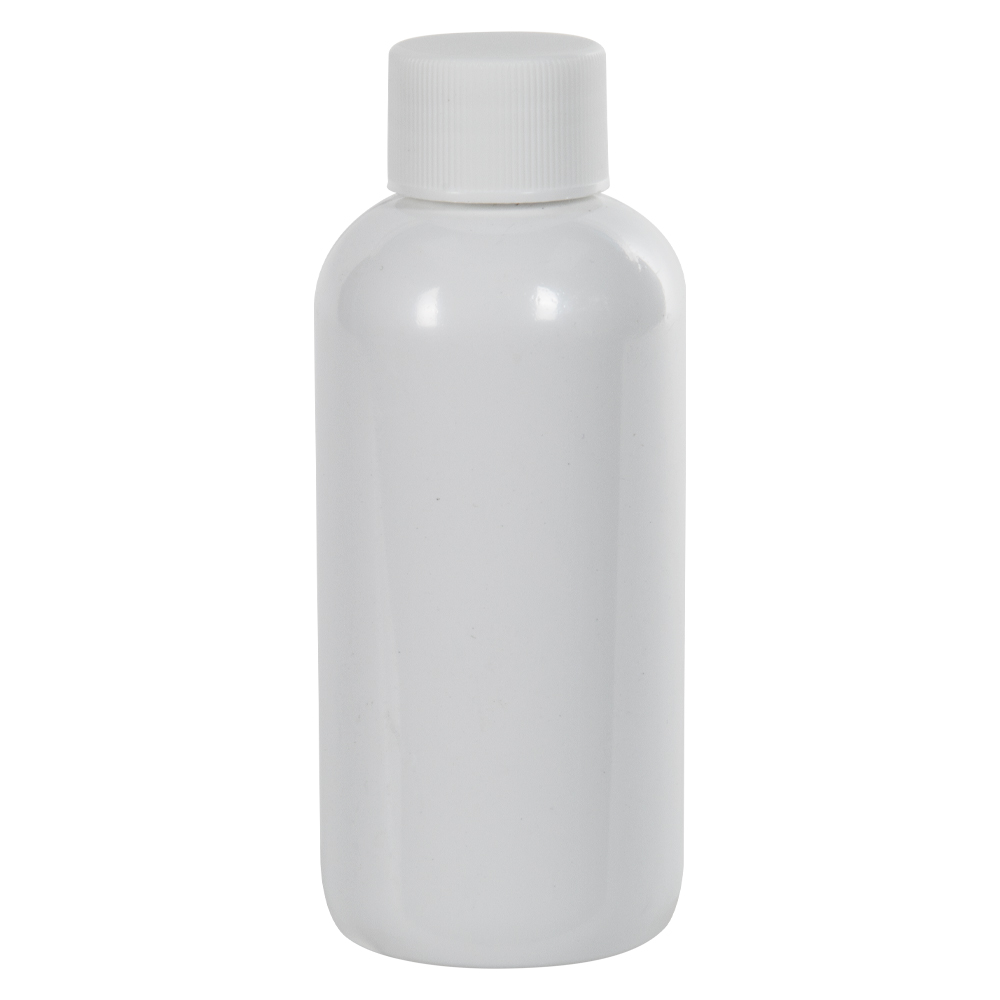 4 oz. White PET Traditional Boston Round Bottle with 24/410 Plain Cap with F217 Liner