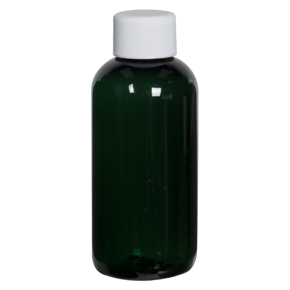 4 oz. Dark Green PET Traditional Boston Round Bottle with 24/410 Plain Cap with F217 Liner