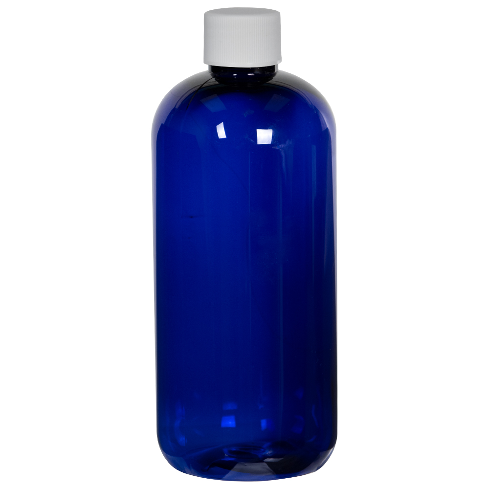 12 oz. Cobalt Blue PET Traditional Boston Round Bottle with 24/410 Plain Cap with F217 Liner
