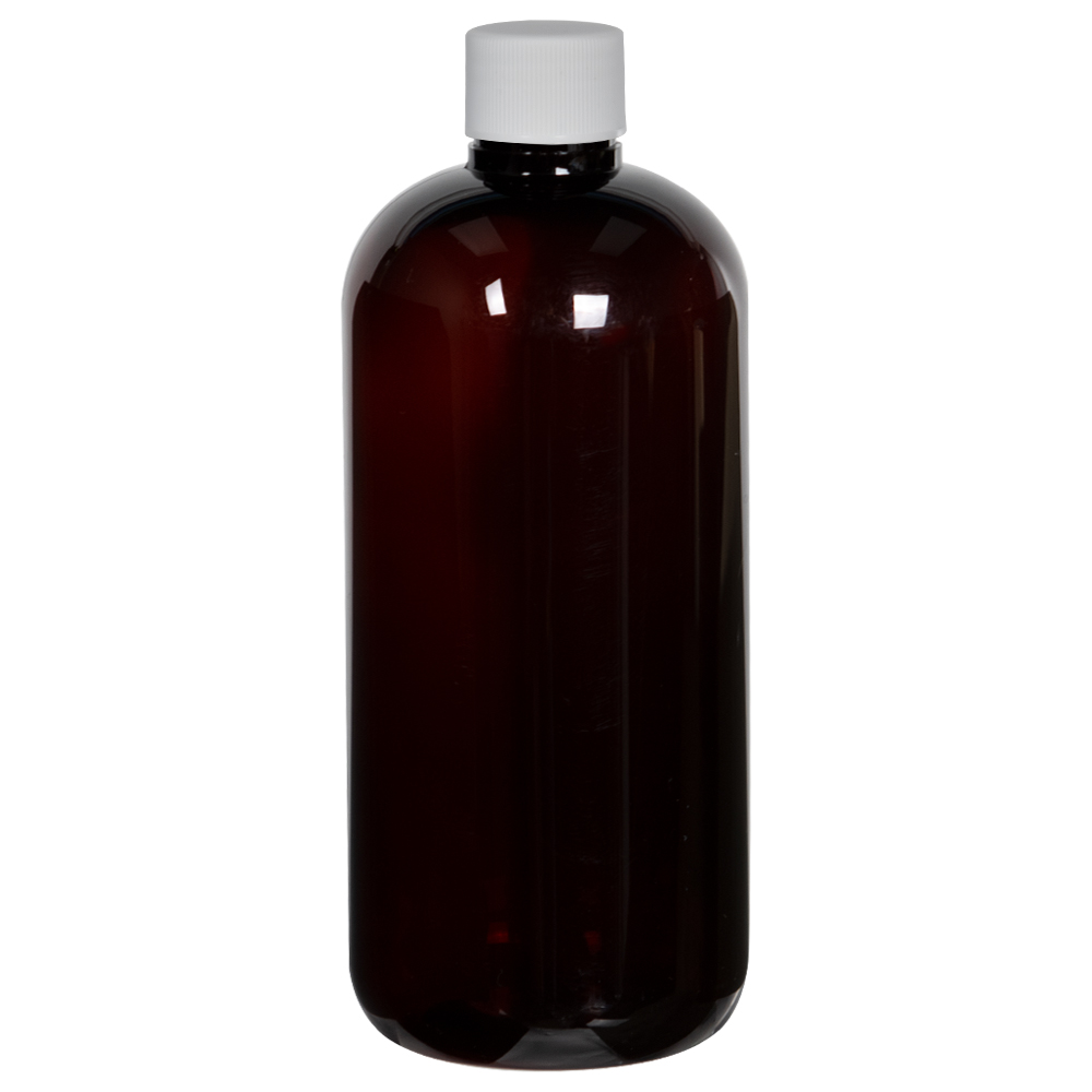 12 oz. Light Amber PET Traditional Boston Round Bottle with 24/410 Plain Cap with F217 Liner