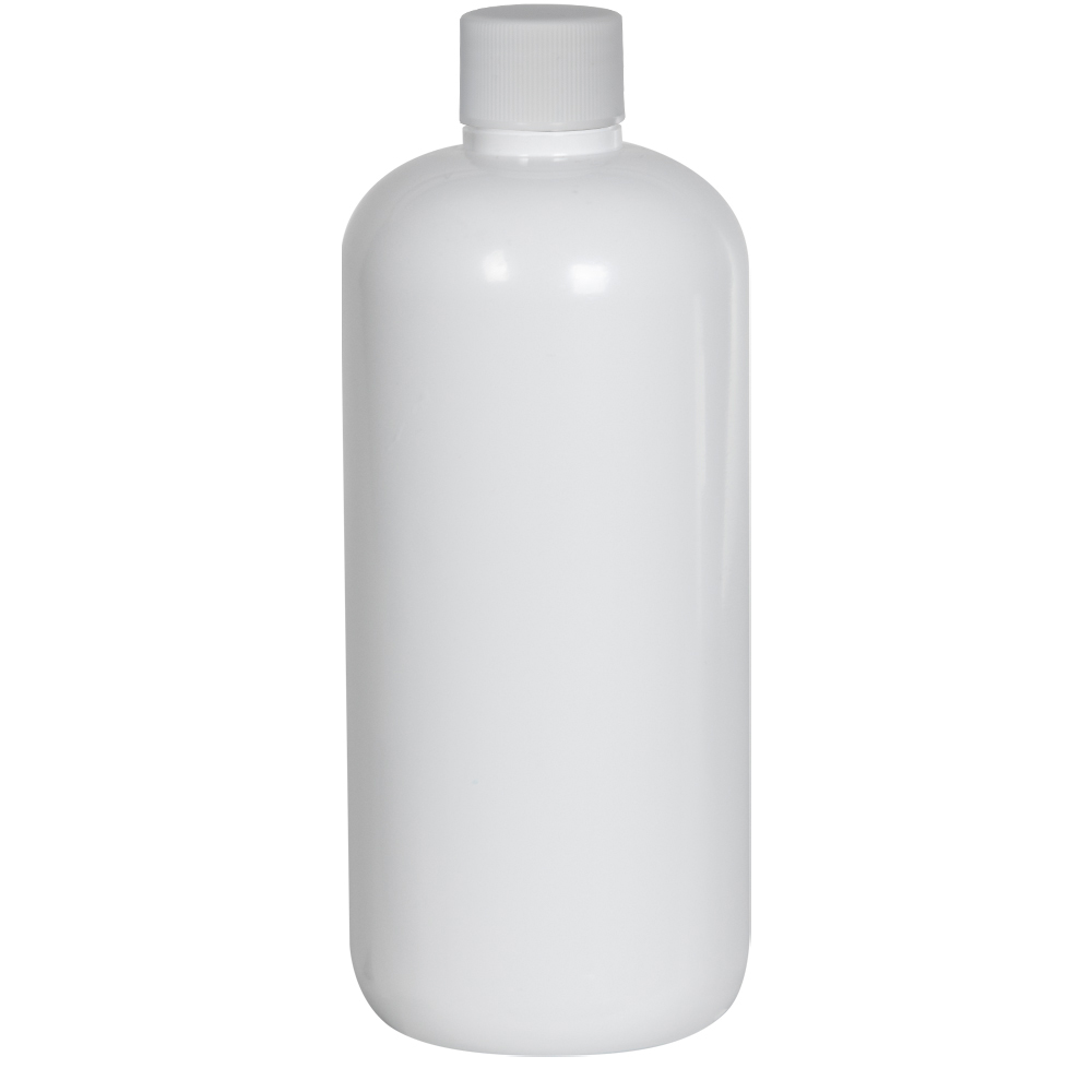16 oz. White PET Traditional Boston Round Bottle with 28/410 Plain Cap with F217 Liner